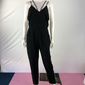 Lush M Sleeveless Open Back V Neck Jumpsuit Romper
